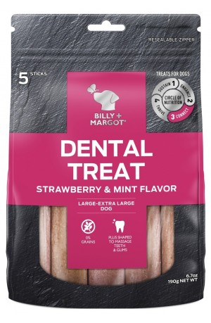 Billy And Margot Dental Sticks Strawberry Mint Large 5 Pack